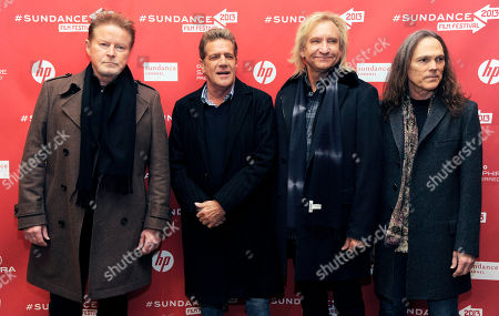 From left, Don Henley, Glenn Frey, Joe Walsh and Timothy B. Schmit pose together at the premiere of the film at the 2013 Sundance Film Festival, in Park City, Utah