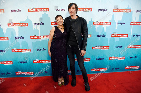 """Tina Grimmie, left, and Marcus Grimmie, the mother and brother of the late cast member Christina Grimmie, pose together at the premiere of the film """"The Matchbreaker"""" at the ArcLight Cinerama Dome, in Los Angeles. Grimmie, a singer on the television singing competition series """"The Voice,"""" was shot and killed while signing autographs and meeting fans following a concert in June in Orlando, Fla"""