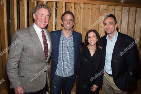 John C. McGinley, from left, Seth Meyers, IFC President Jennifer Caserta and Hank Azaria attend the IFC Press Upfront luncheon at Upland on in New York