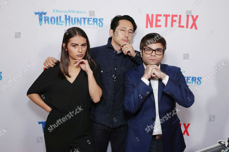 """Lexi Medrano, Steven Yeun and Charlie Saxton seen at Netflix Special Screening of DreamWorks """"Trollhunters"""" at The Grove, in Los Angeles, CA"""