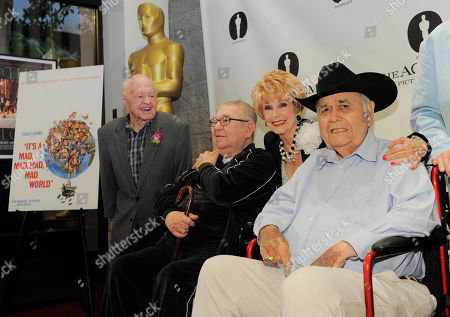 "Karen Kramer, second from right, widow of director Stanley Kramer, poses with ""It's a Mad, Mad, Mad, Mad World"" cast members, from left, Mickey Rooney, Marvin Kaplan and Jonathan Winters at The Last 70mm Film Festival Presented by the Academy of Motion Picture Arts and Sciences, at the Samuel Goldwyn Theater in Beverly Hills, Calif"