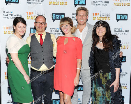 Head critic Gail Simmons, left, and host Curtis Stone, second from right, pose with Top Chef Judges, from left, James Oseland, Lesley Suter and Ruth Reichl at the 'Top Chef Masters' Season 5 Premiere Tasting Event presented by Chase Sapphire Preferred and Bravo at 82 Mercer on in New York