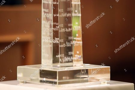 A detail of the trophy received by Ralph Hamers, CEO & Chairman Executive Board, ING Group as 'European Banker of the Year 2016' in the Emperor Hall (Kaisersaal) of the Frankfurt Roemer in Frankfurt Main, Germany, 13 November 2017. Ralph Hamers, CEO & Chairman Executive Board, ING Group, has worked for the company since 1991, and has headed the financial enterprise since 2013. As part of reasons for awarding the title, the awarding jury said ?under Hamers? leadership, ING has invested heavily in online banking and is considerably ahead of the curve when it comes to banking digitisation. The jury also said the bank impresses with its visionary applications and always stays up to date with the latest technological trends. In contrast to the general trend in the industry, ING?s German subsidiary once again achieved a record result for the 2016 financial year. Earnings after tax rose by 14 per cent to 859 million Euros.
