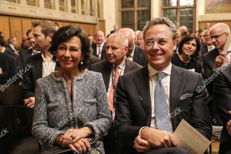 Ana Botin (L) Group Executive Chairman of Banco Santander prior to the ceremony to present the award 'European Banker of the Year 2016' to Ralph Hamers (R), CEO & Chairman Executive Board of ING Group at Imperial Hall of the Frankfurt Roemer in Frankfurt Main, Germany, 13 November 2017. Ralph Hamers, CEO & Chairman Executive Board, ING Group, has worked for the company since 1991, and has headed the financial enterprise since 2013. As part of reasons for awarding the title, the awarding jury said ?under Hamers? leadership, ING has invested heavily in online banking and is considerably ahead of the curve when it comes to banking digitisation. The jury also said the bank impresses with its visionary applications and always stays up to date with the latest technological trends. In contrast to the general trend in the industry, ING?s German subsidiary once again achieved a record result for the 2016 financial year. Earnings after tax rose by 14 per cent to 859 million Euros.