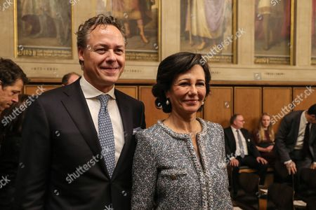 Ana Botin (L) Group Executive Chairman of Banco Santander and Ralph Hamers (R), CEO & Chairman Executive Board of ING Group arrive to take part to the ceremony for the award 'European Banker of the Year 2016'at Imperial Hall of the Frankfurt Roemer in Frankfurt Main, Germany, 13 November 2017. Ralph Hamers, CEO & Chairman Executive Board, ING Group, has worked for the company since 1991, and has headed the financial enterprise since 2013. As part of reasons for awarding the title, the awarding jury said ?under Hamers? leadership, ING has invested heavily in online banking and is considerably ahead of the curve when it comes to banking digitisation. The jury also said the bank impresses with its visionary applications and always stays up to date with the latest technological trends. In contrast to the general trend in the industry, ING?s German subsidiary once again achieved a record result for the 2016 financial year. Earnings after tax rose by 14 per cent to 859 million Euros.