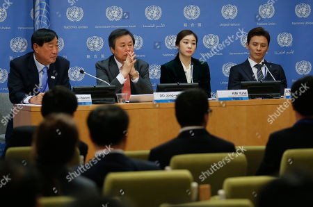United Nations. President of South Korea's Pyeong Chang Olympic Organizing Committee Hee-bum Lee, far left, Minister of Culture, Sport and Tourism Jong-hwan Do, second from left, 2010 Olympic gold medalist figure skater Yuna Kim, second from left, and ice-hockey Olympian Seung-Hwan Jung, far right, hold a press conference at U.N. headquarters. The U.N. General Assembly has approved a resolution by acclamation urging all countries to stop fighting and observe a truce during the upcoming winter Olympic games in Pyeongchang, South Korea
