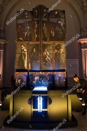 'The Adoration Trilogy - Searching For Apollo', a mixed media artwork installation at its opening night hosted by Roger Daltrey and Alistair Morrison of 'Legendary Musicians' photograph for Teen Cancer America & Teenage Cancer Trust