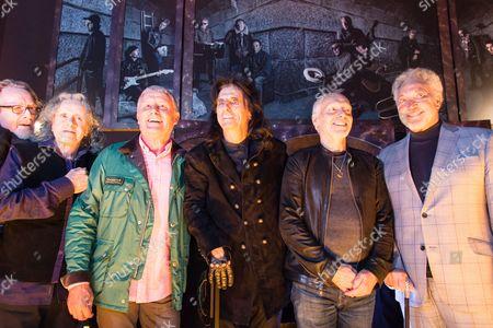 Stock Image of Alistair Morrison, Donovan, Carl Palmer, Alice Cooper, Peter Frampton, Tom Jones - standing in front of the mixed media artwork installation