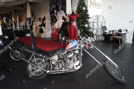 US actor Dennis Hopper Easy Rider 'Captain America' chopper used in publicity for the film is displayed as part of Julien's Auctions Treasures from the Vault media preview in Los Angeles, California, USA, 13 November 2017.  The estimated auction price is between 60,000-80,000 US dollars.