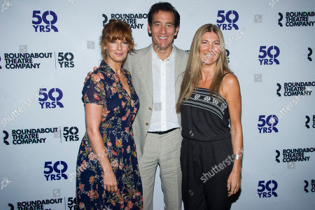 "Kelly Reilly, from left, Clive Owen and Eve Best attend the ""Old Times"" Broadway cast media event at the American Airlines Theater, in New York"