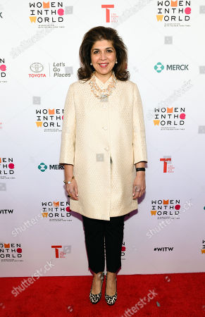 Former Special Representative to Muslim Communities for the United States Department of State, Farah Pandith, arrives at the 7th Annual Women in the World Summit opening night at the David H. Koch Theater, in New York