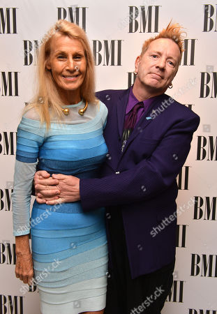 John Lydon and his wife, Nora Forster at the BMI London Awards 2013, held at the Dorchester Hotel, London, on
