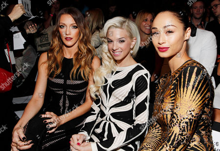Katie Cassidy, Lauriana Mae and Cara Santana attend the Herve Leger collection, during Mercedes-Benz Fashion Week in New York