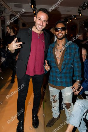 """Micah Jesse, left, and Miguel attend the New York Fashion Week Spring/Summer 2016 â?"""" Baja East fashion presentation, in New York"""