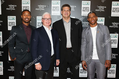 From left, Actor Michael B Jordan, DICKS Sporting Goods CEO Ed Stack, ESPN personality Mike Golic and NY Giant Victor Cruz arrive at 'We Could Be King' Premiere at the Sunshine Cinema on in New York, NY