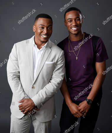 """RonReaco Lee, left, and Jessie Usher, cast members in the television series """"Survivor's Remorse,"""" pose together for a portrait during the 2015 Television Critics Association Summer Press Tour at the Beverly Hilton, in Beverly Hills, Calif"""