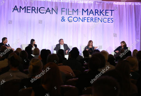 Stock Image of Gary Foster, and from left, Dana Archer, Chris Day, Jill Jones and Marian Koltai-Levine attend the 2014 American Film Market (AFM) Marketing Conference at the Fairmont Hotel on Monday, Nov. 10, in Santa Monica, Calif
