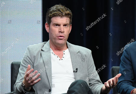 """Steve Rannazzisi participates in """"The League"""" panel at the FX Summer TCA Tour at the Beverly Hilton Hotel in Beverly Hills, Calif. The Buffalo Wild Wings company said in a statement Thursday, Sept. 17, it will stop airing TV commercials featuring comedian Steve Rannazzisi, who said that he lied about being in the World Trade Center during the Sept. 11 attacks"""