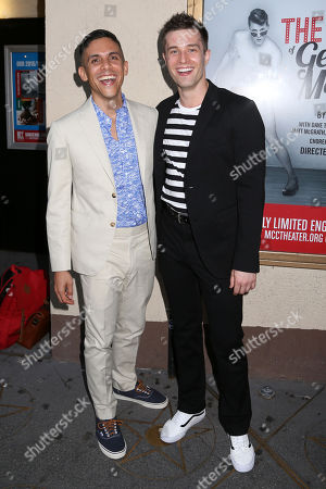 """Playwright Matthew Lopez. left, and choreographer Paul McGill arrive at the Broadway opening night of the MCC Theaterâ?™s """"The Legend of Georgia McBride"""" at The Lucille Lortel Theatre, in New York"""