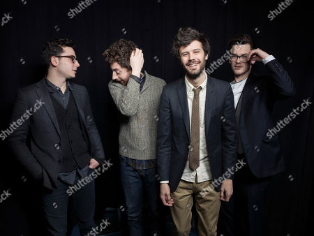 From left, Ian Hultquist, Jeff Apruzzese, Michael Angelakos,and Nathan Donmoyer, of the American indie rock band Passion Pit, pose for a portrait, on in New York