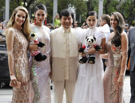 "Actors, from left, Laura Weissbecker, Zhang Lanxin, Jackie Chan, Yao Xingtong, and Caitlin Dechelle arrive at ""In Conversation With Jackie Chan"" during the Toronto International Film Festival on in Toronto"