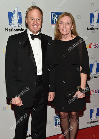Stock Picture of NASCAR driver Rusty Wallace and wife Patti Wallace attend the NASCAR Foundation's inaugural honors gala at the Marriott Marquis, in New York