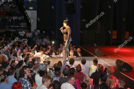 Stock Picture of Host Michelle Visage greets the crowd at Center Stage Theatre, in Atlanta. Hosted by Michelle Visage, featured drag queens on the tour are Jinkx Monsoon, Sharon Needles, Ivy Winters, Carmen Carrera, Pandora Boxx, Phi Phi O'hara and DJ Mimi Imfurst