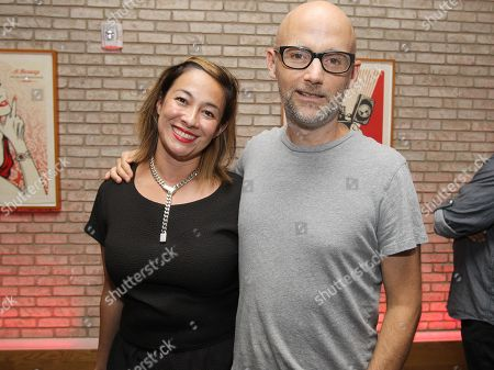Amanda Fairey and musician Moby attend the Shepard Fairey: On Our Hands exhibition opening presented by Hennessy V.S. at the Dream Downtown, in New York