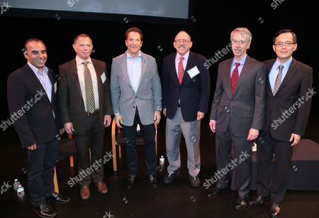UCLA Anderson professor Sanjay Sood, from left, and UCLA Anderson economists Jerry Nickelsburg, Mandalay Entertainment CEO Peter Guber, David Schulman, Ed Leamer and William Yu attend the UCLA Anderson Forecast at the Kirk Douglas Theatre, in Culver City, Calif