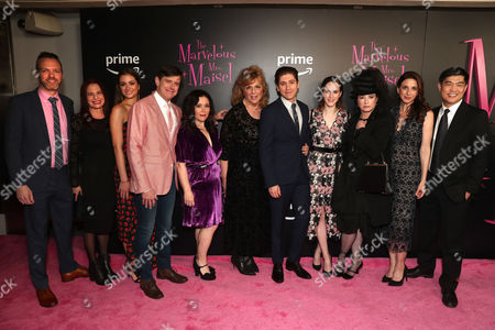 (L-R) Co-Head of Current Series at Amazon Marc Resteghini, Donna Rosenstein, Holly Curran, Director Daniel Palladino, Alex Borstein, Caroline Aaron Michael Zegen, Rachel Brosnahan, Director Amy Sherman-Palladino, Marin Hinkle and Head of Amazon Studios Albert Cheng