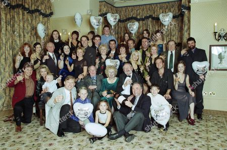 Emmerdale reunion party featuring - Sophie Wright, as played by Jane Cameron; Dee Pollard, as played by Claudia Malkovich; Eric Pollard, as played by Christopher Chittell ; Roy Evans, as playd by Nicky Evans ; Viv Windsor, as played by Deena Payne ; Mandy Dingle, as played by Lisa Riley ; Rachel Hughes, as played by Glenda McKay ; Jack Sugden, as played by Clive Hornby ; Linda Fowler, as played by Tonicha Jeronimo ; Marlon Dingle, as played by Mark Charnock ; Paddy Kirk, as played by Dominic Brunt ; Steve Marchant, as played by Paul Opacic ; Lisa Clegg, as played by Jane Cox ; Betty Eagleton, as played by Paula Tilbrook ; Ned Glover, as played by Johnny Leeze ; Doug Hamilton, as played by Jay Benedict; Will Cairns, as played by Paul Fox ; Jan Glover, as played by Roberta Kerr ; Alan Turner, as played by Richard Thorp ; Zak Dingle, as played by Steve Halliwell ; Joe Sugden, as played by Frazer Hines ; Kim Tate, as played by Claire King ; Mervyn Watson (Producer, Emmerdale); Amos Brearly, as played by Ronald Magill ; Annie Sugden, as played by Sheila Mercier ; Seth Armstrong, as played by Stan Richards ; Kathy Glover, as played by Malandra Burrows ; Chris Tate, as played by Peter Amory ; Andy Hopwood, as played by Kelvin Fletcher ; Robert Sugden, as played by Christopher Smith ; Matt Skilbeck, as played by Frederick Pyne.