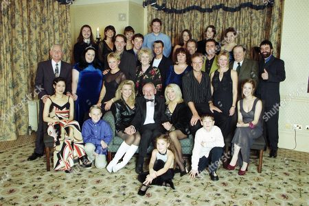 Stock Image of Emmerdale reunion party featuring - Sophie Wright, as played by Jane Cameron; Dee Pollard, as played by Claudia Malkovich; Eric Pollard, as played by Christopher Chittell ; Roy Evans, as playd by Nicky Evans ; Viv Windsor, as played by Deena Payne ; Mandy Dingle, as played by Lisa Riley ; Rachel Hughes, as played by Glenda McKay ; Jack Sugden, as played by Clive Hornby ; Linda Fowler, as played by Tonicha Jeronimo ; Marlon Dingle, as played by Mark Charnock ; Paddy Kirk, as played by Dominic Brunt ; Steve Marchant, as played by Paul Opacic ; Lisa Clegg, as played by Jane Cox ; Betty Eagleton, as played by Paula Tilbrook ; Ned Glover, as played by Johnny Leeze ; Doug Hamilton, as played by Jay Benedict; Will Cairns, as played by Paul Fox ; Jan Glover, as played by Roberta Kerr ; Alan Turner, as played by Richard Thorp ; Zak Dingle, as played by Steve Halliwell ; Joe Sugden, as played by Frazer Hines ; Kim Tate, as played by Claire King ; Mervyn Watson (Producer, Emmerdale); Amos Brearly, as played by Ronald Magill ; Annie Sugden, as played by Sheila Mercier ; Seth Armstrong, as played by Stan Richards ; Kathy Glover, as played by Malandra Burrows ; Chris Tate, as played by Peter Amory ; Andy Hopwood, as played by Kelvin Fletcher ; Robert Sugden, as played by Christopher Smith ; Matt Skilbeck, as played by Frederick Pyne.