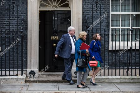 Chairman of the Conservative Party Patrick McLoughlin (L), Leader of the House of Commons Andrea Leadsom (C) and Leader of the House of Lords Baroness Evans (R) leave 10 Downing Street after the weekly Cabinet meeting.