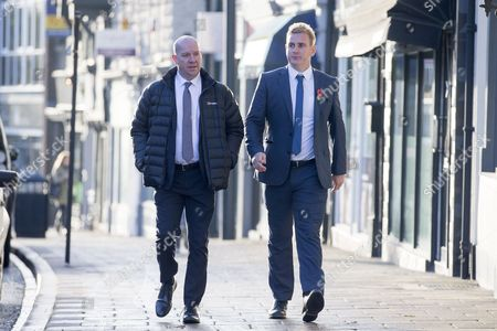 Corpus Christi Catholic school head teacher (left) Steve Moat & teacher Andrew Kellett (right) arrive at Wakefield Coroners Court this morning for the second day of the inquest into the death of Leeds teacher Ann Maguire at Wakefield Coroners Court.