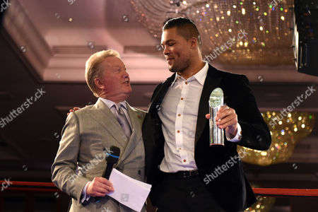 Joe Joyce (R) receives a Special Achievement Award from Frank Warren during a Charity Dinner Boxing Show at the Hilton Hotel on 13th November 2017