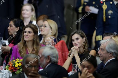 Letizia, Dina Mired. Princess Dina Mired of Jordan, left, and Spain's Queen Letizia, attend the inauguration of the World Cancer Leaders Summit, in Mexico City