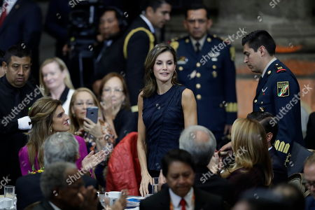 Letizia, Dina Mired of Jordan. Princess Dina Mired of Jordan, left, joins in the applause as Spain's Queen Letizia takes her seat, at inauguration of the World Cancer Leaders' Summit, in Mexico City