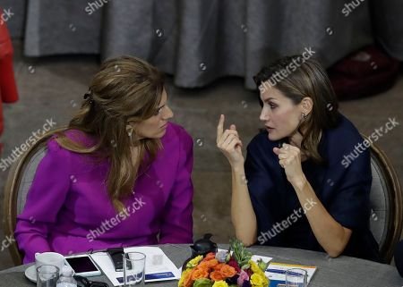 Letizia, Dina Mired. Spain's Queen Letizia, right, speaks to Princess Dina Mired of Jordan, during the opening session of the World Cancer Leaders' Summit, in Mexico City