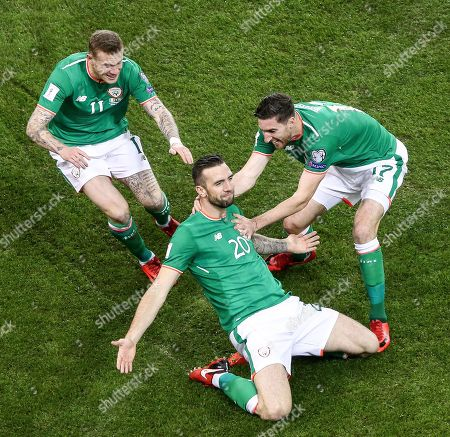 Republic of Ireland vs Denmark. Ireland?s Shane Duffy celebrates scoring his side's first goal with James McClean and Stephen Ward