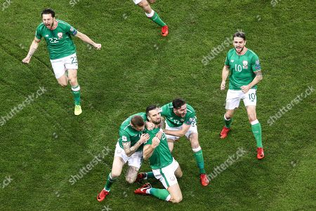 Republic of Ireland vs Denmark. Ireland?s Shane Duffy celebrates scoring his side's first goal with James McClean and Stephen Ward as Harry Arter and Robbie Brady celebrate in the background