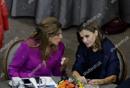 Letizia, Dina Mired. Princess Dina Mired of Jordan, left, speaks to Spain's Queen Letizia, during the opening session of the World Cancer Leaders' Summit, in Mexico City