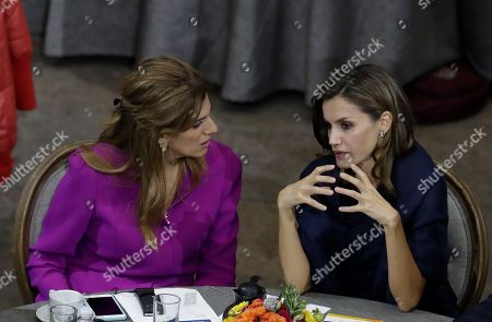 Dina Mired, Letizia. Spain's Queen Letizia, right, speaks to Princess Dina Mired of Jordan, during the opening session of the World Cancer Leaders' Summit, in Mexico City