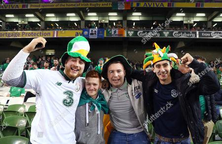 Republic of Ireland vs Denmark. Daragh Burn, Colm McHugh, Daniel Coyle and David Tarpey from Galway