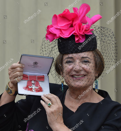 Rosa Monckton, at Buckingham Palace after receiving a MBE for voluntary work with young people with learning difficulties.