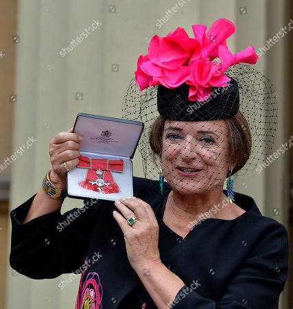Rosa Monckton at Buckingham Palace after receiving an MBE from HM The Queen for voluntary and charitable services.