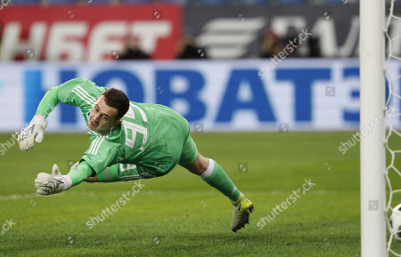 Andrey Lunyov in action during international friendly soccer match between Russia and Spain in St. Petersburg, Russia, 14 November 2017.