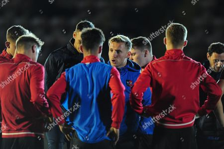 Dan Green, Manager of Exeter City u18s issues instructions during the FA Youth Cup Round 2 Match between Exeter City u18 and Charlton Athletic at St James Park, Exeter, Devon on November 14.