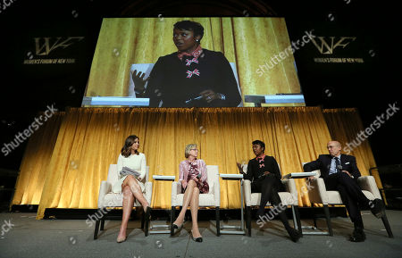 Stock Picture of Rebecca Jarvis, Maggie Wilderotter, Mellody Hobson, Jeffrey Katzenberg. From left to right, Rebecca Jarvis, of ABC News, moderates panelists, Maggie Wilderotter, Former Executive Chairman and CEO, Frontier Communications, Mellody Hobson, President, Ariel Investments and Jeffrey Katzenberg, Partner, WndrCo, at the 2017 Women's Forum of New York Breakfast of Corporate Champions, in New York