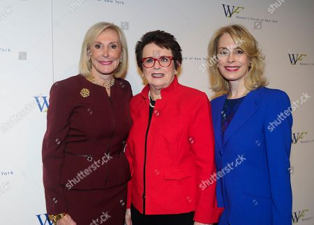 Stock Photo of Janice Reals Ellig, Billie Jean King, Carolyn Carter. Janice Reals Ellig, left, Chair, 2017 Breakfast of Corporate Champions, and Carolyn Carter, right, President, Women's Forum of New York, pose with Billie Jean King, Founder, Billie Jean King Leadership Initiative, at the 2017 Women's Forum of New York Breakfast of Corporate Champions, at Cipriani 42nd Street in New York