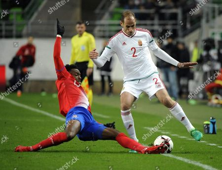 Janos Szabo of Hungary (R) in action against Rodney Wallace of Costa Rica during the international friendly soccer match between Hungary and Costa Rica in Goupama Arena in Budapest, Hungary, 14 November 2017.